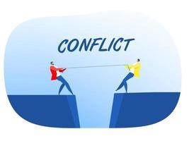 dois empresários de terno puxam a corda na beira do penhasco, símbolo do conflito de competição rivalidade vetor de cabo de guerra