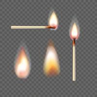 conjunto de vetores de fósforos e chamas realistas isolado em fundo transparente