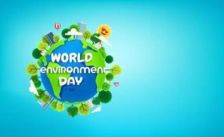 banner do dia mundial do meio ambiente com árvores na terra vetor