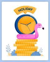 economizando para feriados no final do ano, planeje suas férias agora. pode ser usado para páginas de destino, sites, pôsteres, aplicativos móveis vetor