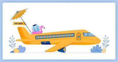 avião comercial de passageiros voando para a ilha tropical para férias. pode ser usado para páginas de destino, sites, pôsteres, aplicativos móveis vetor