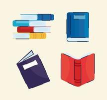 conjunto de livros conjunto de ícones vetor