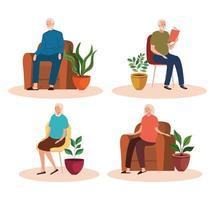 grupo de idosos sentados em cadeiras e sofás personagens vetor
