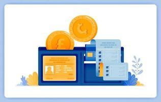 carteira para economizar e gerenciar ativos de dinheiro de forma convencional. pode ser usado para páginas de destino, sites, pôsteres, aplicativos móveis vetor