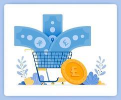 moeda estrangeira entrando no carrinho de compras, euros não comprados. pode ser usado para páginas de destino, sites, pôsteres, aplicativos móveis vetor