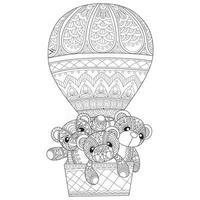 ursinhos de pelúcia em balão desenhados à mão para livro de colorir adulto vetor