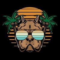 ilustração de cachorro de verão com palmeira vetor