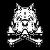 pitbull com crossbone preto e branco vetor