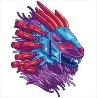 ilustração do leão cyberpunk vetor