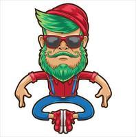 homem hipster de desenho animado vetor