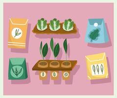 ícones de jardinagem definir plantas e sementes de plantação com cores desenhadas à mão vetor