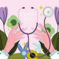 obrigado mãos médica com equipamento de estetoscópio vetor