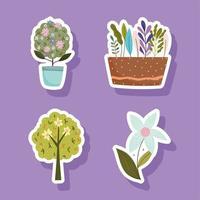 conjunto de decoração de jardim de flores em vasos de plantas de primavera vetor