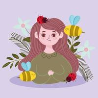 mulher cartoon abelha joaninhas flores e primavera vetor