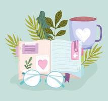 livro de leitura de óculos e desenho de xícara de café vetor