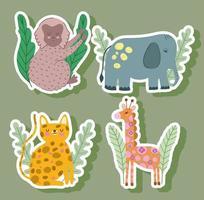 elefante macaco girafa e leopardo animais da selva abstratos desenhos animados da vida selvagem vetor