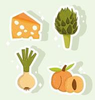 comida saudável queijo fresco alcachofra pêssego cebola vetor