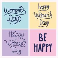 dia das mulheres desenhado à mão de inscrições mensagem conjunto motivacional vetor