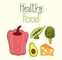comida saudável pimenta fresca ervilha abacate e alcachofra vetor