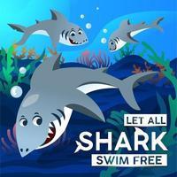 tubarão nadando livremente juntos vetor