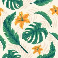 detalhado floral tropical sem costura de fundo vetor