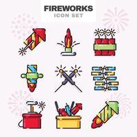 conjunto de ícone de fogos de artifício vetor