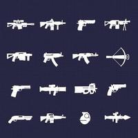 armas e ícones de armas com rifles e pistolas vetor