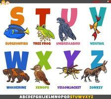 Alfabeto de desenho animado educacional com personagens de animais vetor