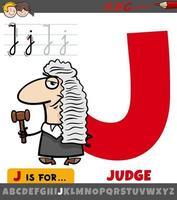letra j do alfabeto com personagem de desenho animado juiz vetor