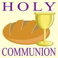 pão e vinho da sagrada comunhão vetor