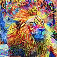 pintura abstrata do retrato do leão vetor
