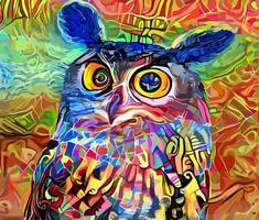 pintura de retrato impressionista abstrato sábio coruja vetor