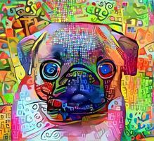 pintura de retrato impressionista de cachorro pug vetor