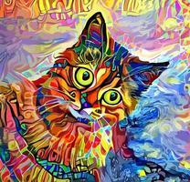pintura abstrata do retrato do animal de estimação do gato vetor
