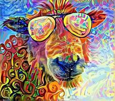 pintura abstrata engraçada de retrato de ovelha vetor