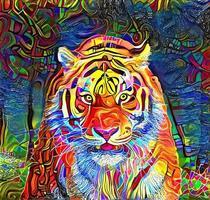 pintura abstrata de retrato de rosto de tigre vetor