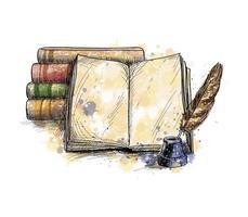 pilha de livros livro aberto e caneta de pena de um toque de aquarela desenho desenhado à mão ilustração vetorial de tintas vetor