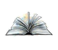Abra o livro com um toque de aquarela mão desenhada desenho ilustração vetorial de tintas vetor