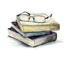 óculos no topo da pilha de livros de um toque de aquarela desenho desenhado à mão ilustração vetorial de tintas vetor