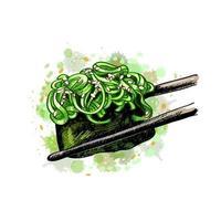 sushi gunkan de um toque de aquarela desenho desenhado à mão ilustração vetorial de tintas vetor
