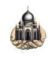 eid mubarak celebração islã ramadan kareem mesquita muçulmana nas mãos ilustração em vetor marco cultural oriental