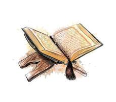 livro sagrado do Corão com ilustração em vetor esboço desenhado à mão rosário