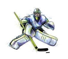 goleiro de hóquei abstrato do respingo de aquarelas esboço desenhado à mão esporte de inverno ilustração vetorial de tintas vetor