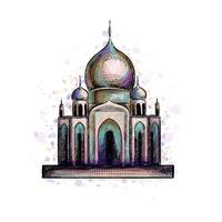 eid mubarak celebração islã ramadan kareem mesquita muçulmana arquitetura objeto oriental marco cultural ilustração vetorial vetor