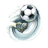 chute a perna de uma bola de futebol e uma bola de futebol do respingo de aquarelas ilustração vetorial de tintas vetor