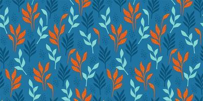 padrão engraçado brilhante com folhas abstratas vetor
