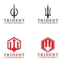 Lança tridente vintage de poseidon Netuno Deus Triton King logo design vetor