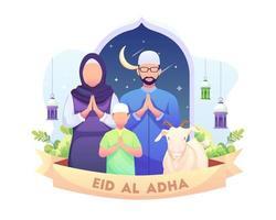 Feliz saudação de eid al adha mubarak com ilustração vetorial de família muçulmana vetor