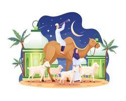 o casal trouxe um camelo e algumas cabras e ovelhas na véspera da ilustração vetorial eid al adha mubarak vetor