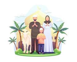 Ilustração vetorial feliz família muçulmana celebra eid al adha mubarak com uma cabra em uma mesquita frontal vetor